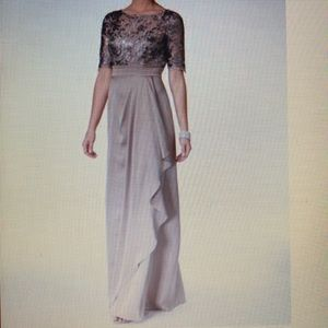 Adrianna Papell Floral Sequin Embroider Drape Gown